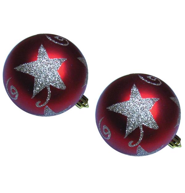Σετ 2 Χριστουγεννιάτικες μπάλες φ10 εκ