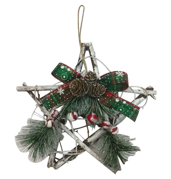 Χριστουγεννιάτικο ξύλινο αστέρι κρεμαστό