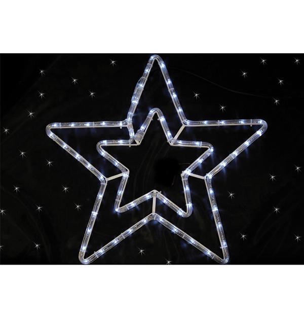 Φωτοσωλήνας διπλό αστέρι με 54 λευκά ψυχρά λαμπάκια led