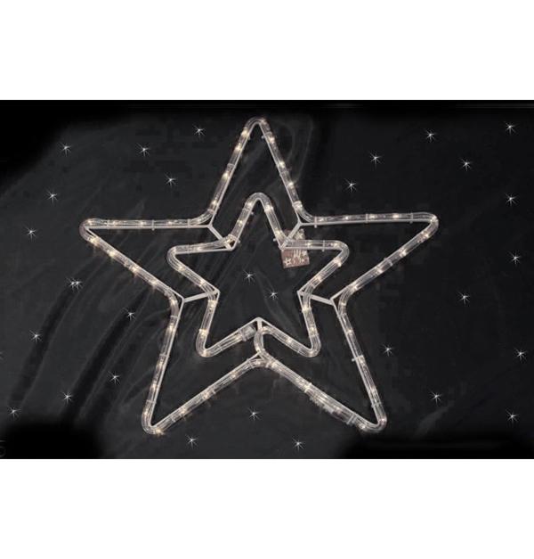 Φωτοσωλήνας διπλό αστέρι με 54 λευκά θερμά λαμπάκια led