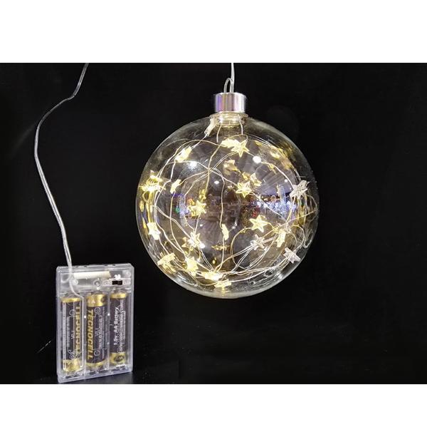 Κρεμαστή διακοσμητική μπάλα με φωτάκια LED μπαταρίας