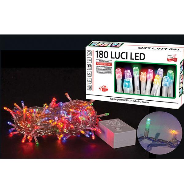 180 πολύχρωμα λαμπάκια LED με διαφανές καλώδιο