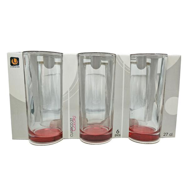 Σετ 6 ποτήρια νερού με κόκκινο-χρυσό πάτο