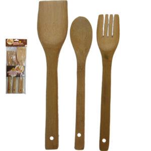 Σετ 3 ξύλινες κουτάλες από μπαμπού [00101310]