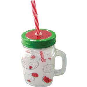 Γυάλινο ποτήρι χυμού 500ml με καπάκι & καλαμάκι [00201092]