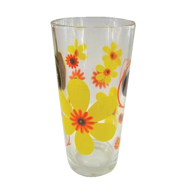 Σετ 6 γυάλινα ποτήρια νερού - Κίτρινα λουλούδια