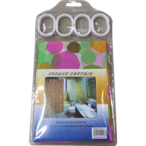 Σετ πλαστική κουρτίνα μπάνιου 180x180cm με κρίκους [00402517]