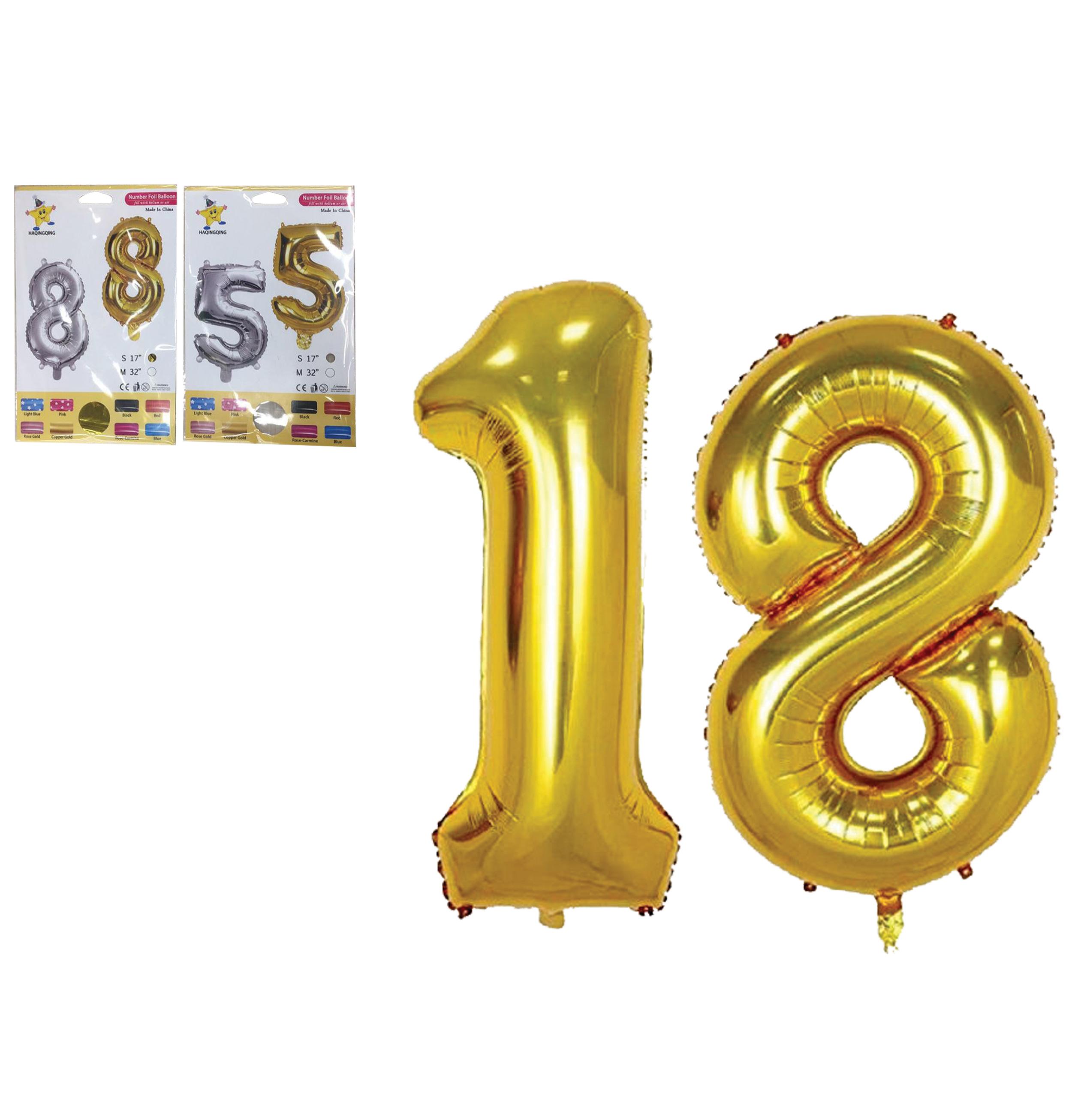Αλουμινένια μπαλόνια με αριθμούς 0-9 ασημί - χρυσό