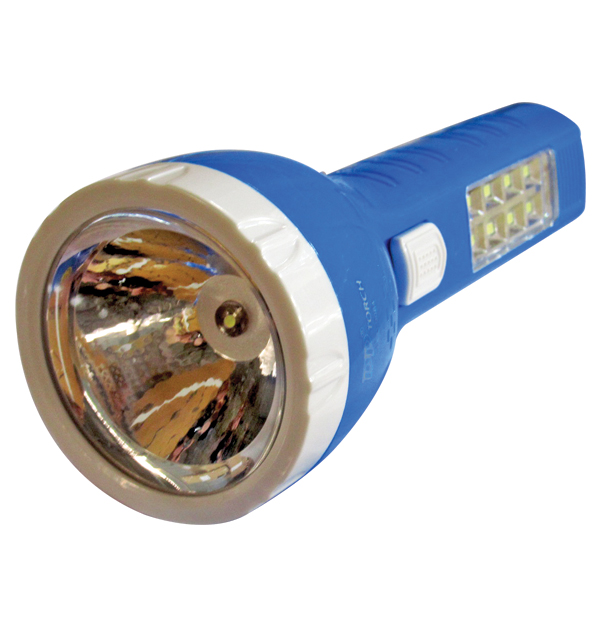 Πλαστικός επαναφορτιζόμενος φακός led 700mAh με 8 led στην λαβή