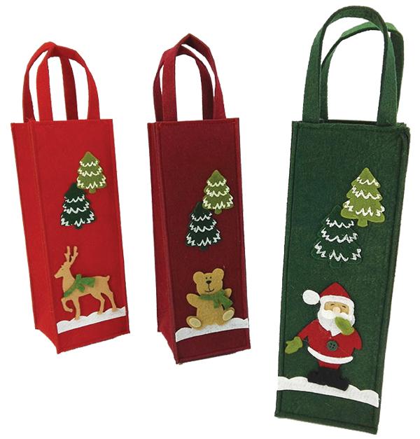 Χριστουγεννιάτικη τσάντα δώρου μπουκαλιού
