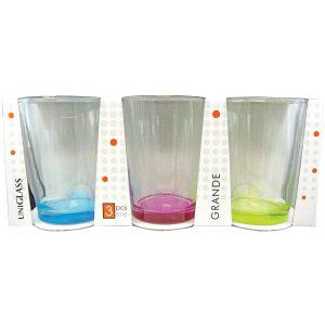 Σετ 3 ποτήρια νερού 51cl με χρωματιστό πάτο
