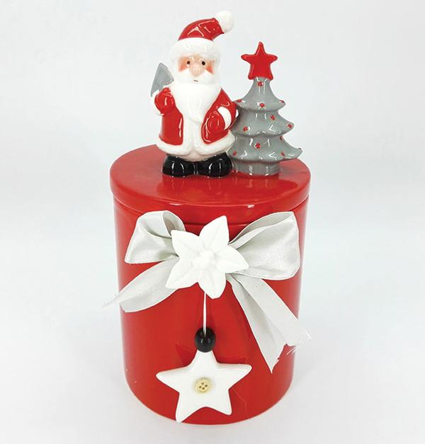 Κόκκινη πορσελάνινη μπισκοτιέρα 25cm με λευκό αστέρι