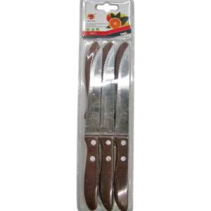 Σετ 6 μαχαίρια με οδοντωτή λεπίδα και ξύλινη λαβή [00101453]