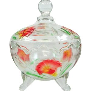 Glass coloured pastry jar mith 3 legs