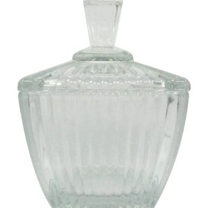 Cone shaped glass pastry jar with lid