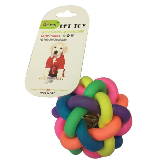 Παιχνίδι σκύλου πολύχρωμη μπάλα 8,5cm με κουδουνάκι