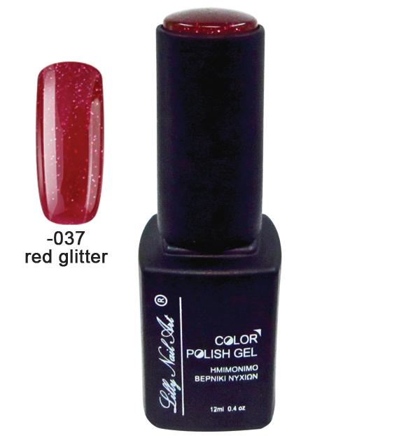 Ημιμόνιμο τριφασικό μανό 12ml - Red glitter