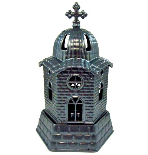 Ανθρακί μεταλλικό καντήλι εκκλησάκι