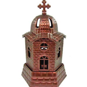 Χαλκοκόκκινο μεταλλικό καντήλι εκκλησάκι [10601080-2]