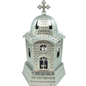 Ασημί μεταλλικό καντήλι εκκλησάκι [10601080-4]