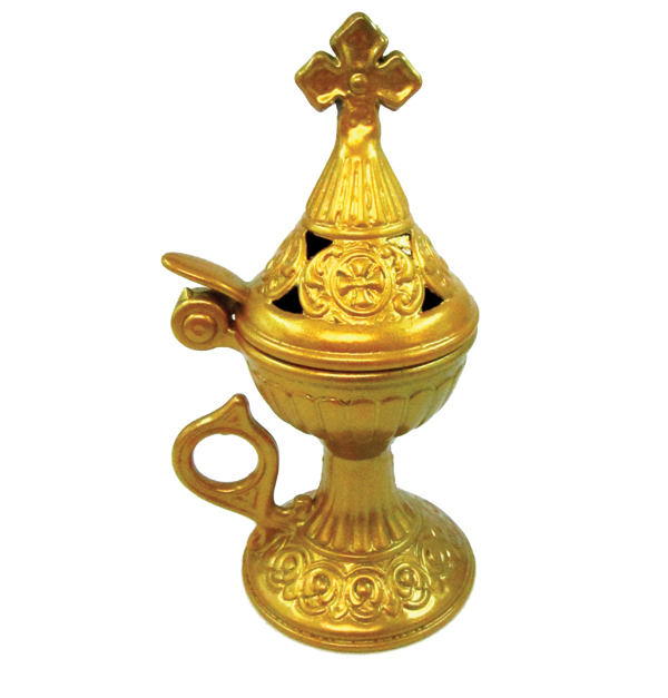 Χρυσό μεταλλικό θυμιατό κλειστού τύπου