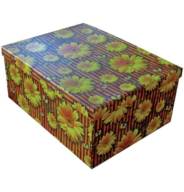 Σετ 10 χάρτινα παραλληλόγραμμα κουτιά αποθήκευσης μαργαρίτες