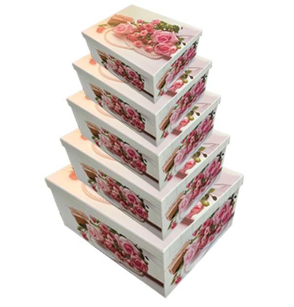 Σετ 10 χάρτινα παραλληλόγραμμα κουτιά αποθήκευσης ροζ τραντάφυλλα
