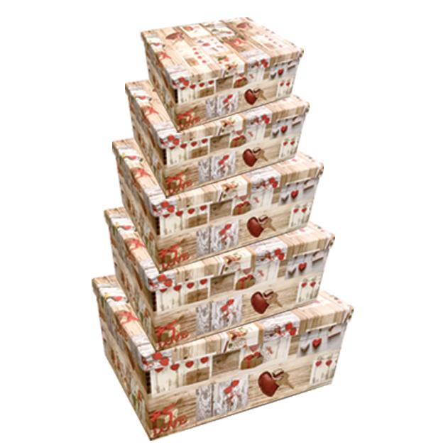 Σετ 10 χάρτινα παραλληλόγραμμα κουτιά αποθήκευσης love