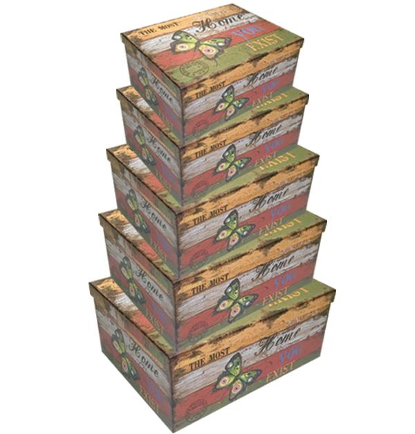 Σετ 10 χάρτινα παραλληλόγραμμα κουτιά αποθήκευσης πεταλούδα