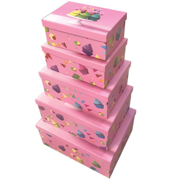 Σετ 10 χάρτινα παραλληλόγραμμα κουτιά αποθήκευσης cupcake