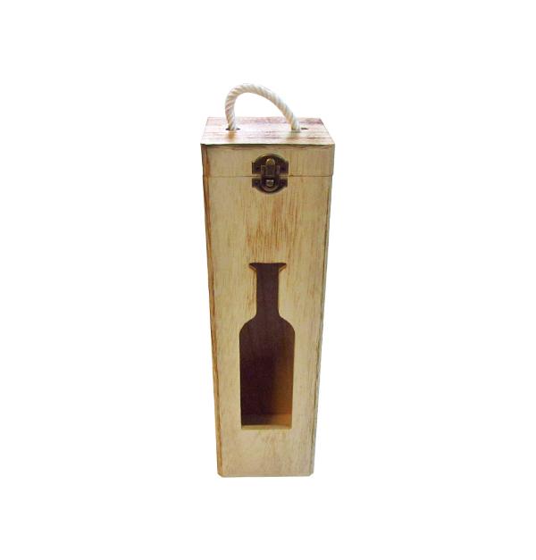 Ξύλινο αλουστράριστο κουτί για ένα μπουκάλι κρασί