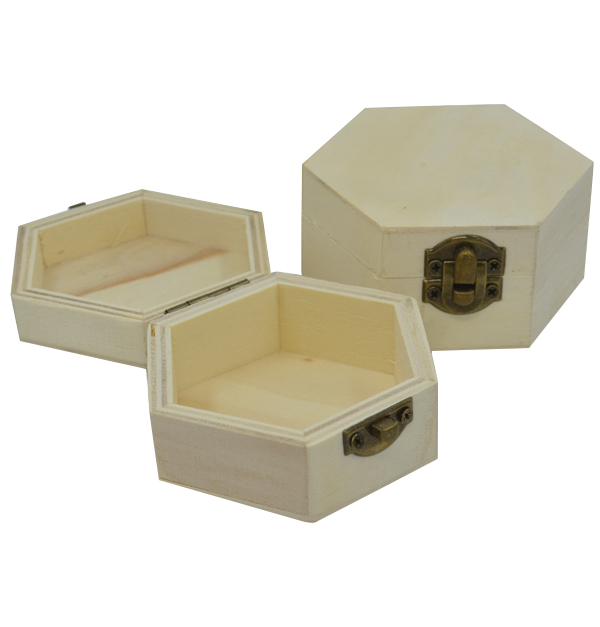 Ξύλινο αλουστράριστο εξάγωνο κουτάκι