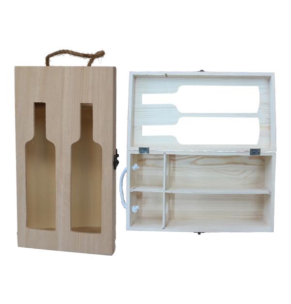 Αλουστράριστο ξύλινο κουτί για 2 φιάλες κρασί