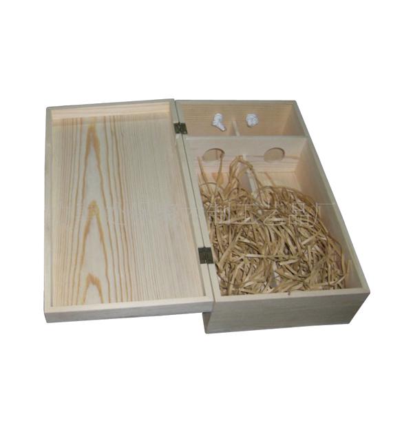 Ξύλινο αλουστράριστο κουτί για 2 φιάλες κρασί