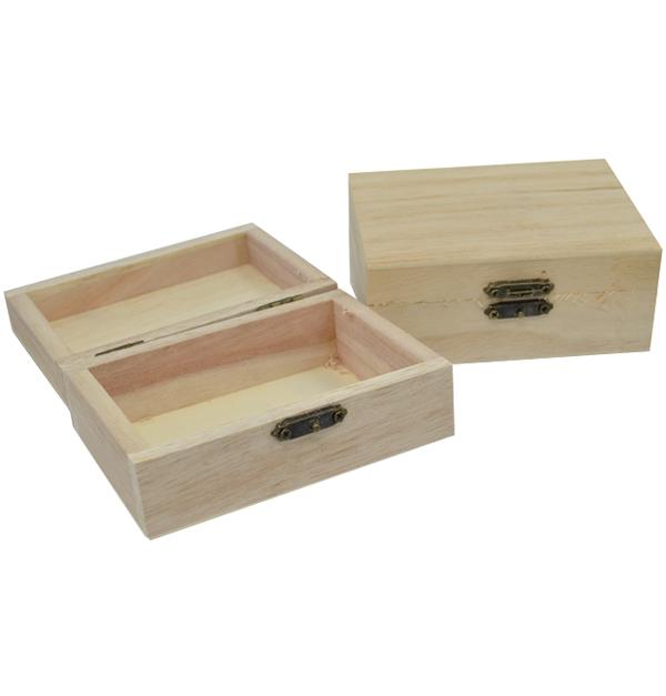 Ξύλινο αλουστράριστο κουτί 20cm με μεταλλικό κλείστρο