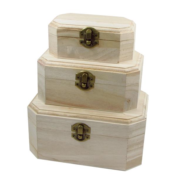Σετ 3 ξύλινα αλουστράριστα κουτιά