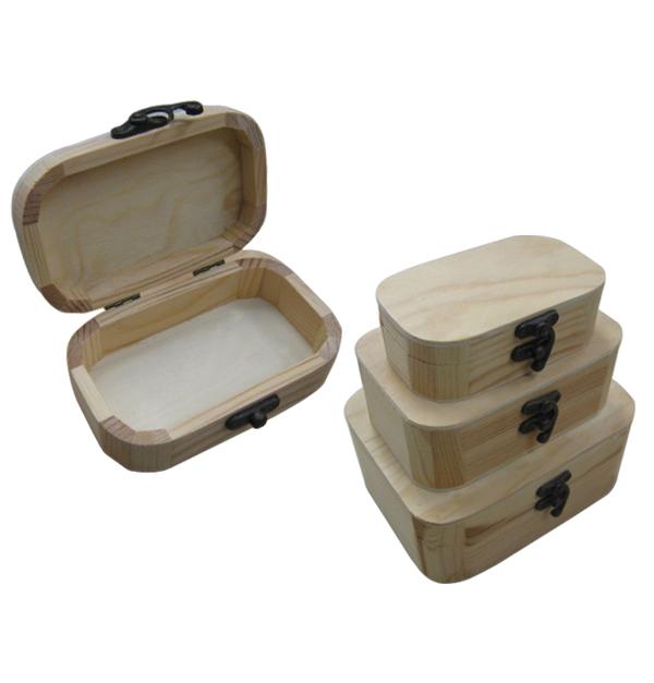 Σετ 3 ξύλινα αλουστράριστα κουτιά με στρογγυλεμένες γωνίες