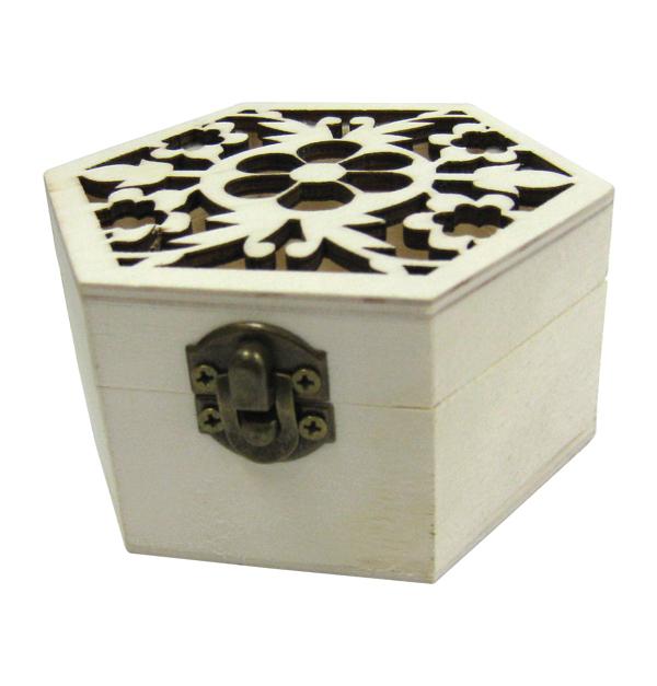 Ξύλινο εξάγωνο αλουστράριστο κουτί σκαλιστό με λουλούδια