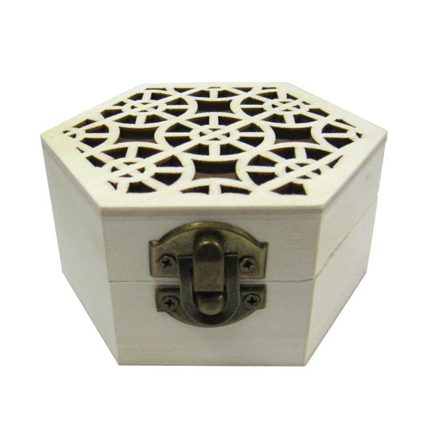 Ξύλινο εξάγωνο αλουστράριστο κουτί σκαλιστό με γεωμετρικά σχήματα