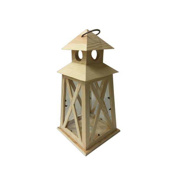 Ξύλινο αλουστράριστο κηροπήγιο-φανάρι