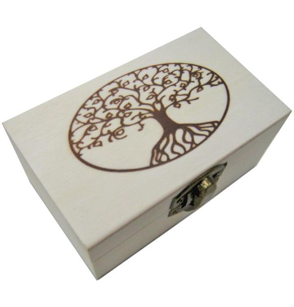 Ξύλινο αλουστράριστο παραλληλόγραμμο κουτί με πυρογραφία δέντρο