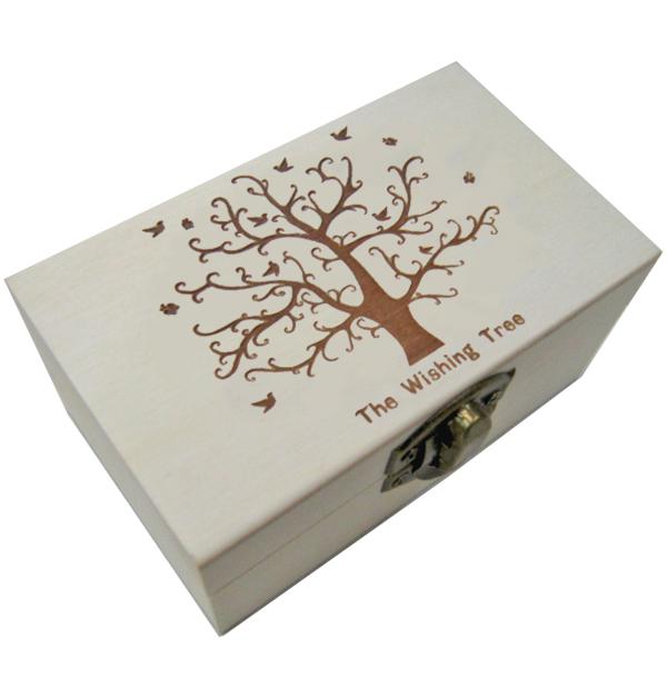 """Ξύλινο κουτί με πυρογραφία για decoupage """"The Wishing Tree"""""""