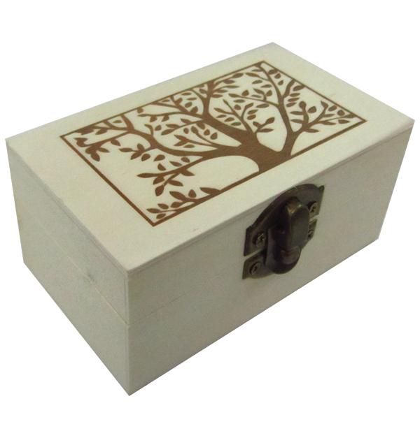 Ξύλινο αλουστράριστο παραλληλόγραμμο κουτί με διακοσμητική πυρογραφία