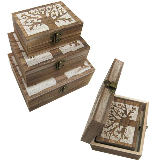 Σετ 3 ξύλινα κουτιά με σχέδιο