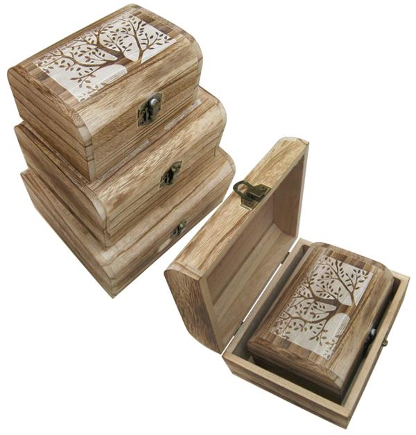 Σετ 3 ξύλινα κουτιά με σχέδιο και καμπυλωτές γωνίες