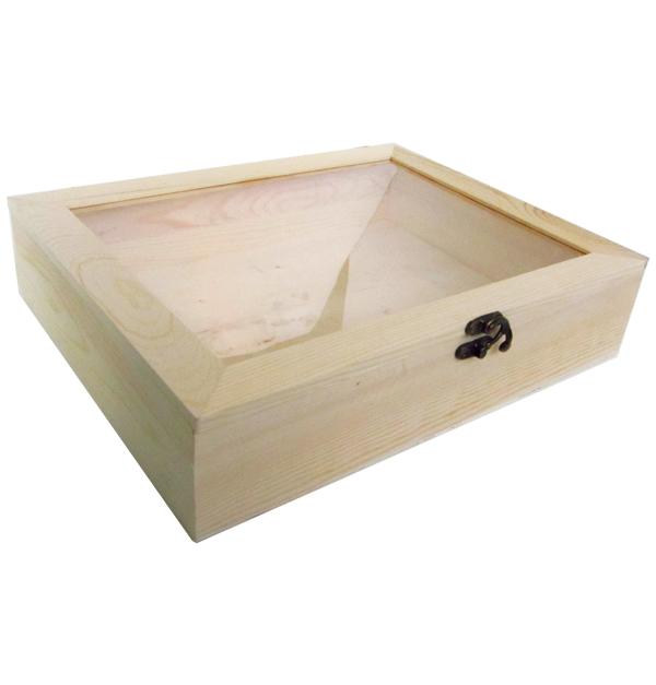 Ξύλινο αλουστράριστο κουτί με διάφανο πλαστικό παράθυρο