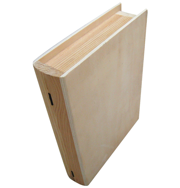 Ξύλινο αλουστράριστο κουτί σε σχήμα βιβλίου