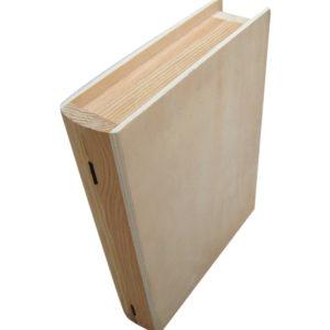 Αλουστράριστο ξύλινο κουτί σε σχήμα βιβλίου για decoupage