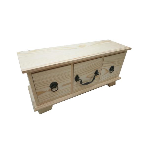Ξύλινη αλουστράριστη συρταριέρα με 3 συρτάρια