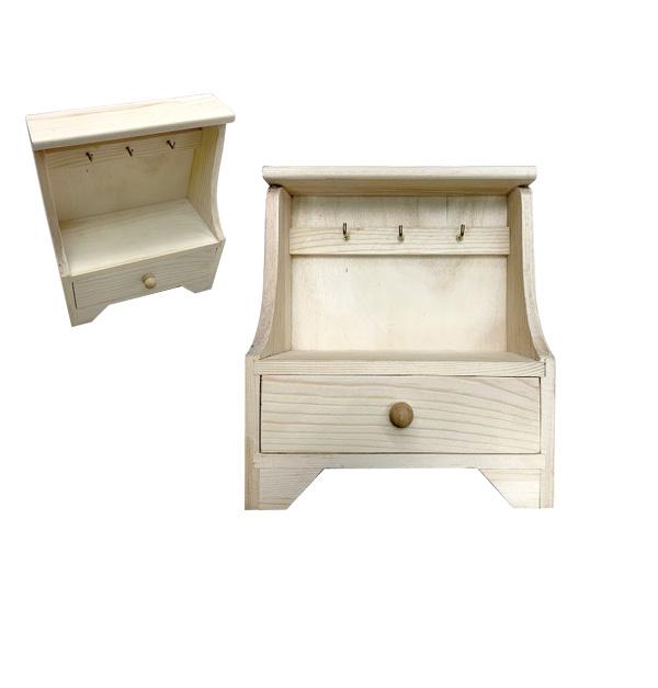 Ξύλινη αλουστράριστη συρταριέρα 17,5cm